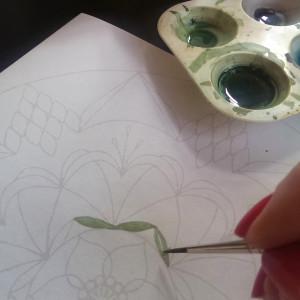 jeg maler grønt med lys helt tæt på kvadrat